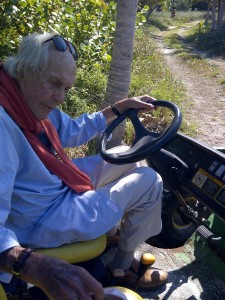 David Wolkowsky driving the buggy on the island