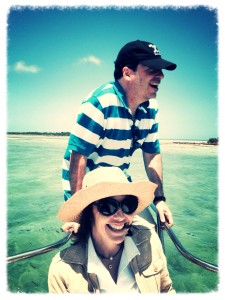 John Hemingway & Christina Oxenberg on the boat to lunch at Ballast Key